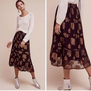 Anthropologie Floreat Oralie Metalic Skirt size 4
